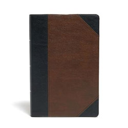 KJV Large Print Personal Size Reference Bible, Black/Brown Leathertouch