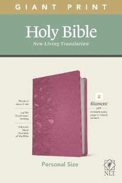 NLT Personal Size Giant Print Bible, Filament Enabled Edition (Red Letter, LeatherLike, Peony Pink)