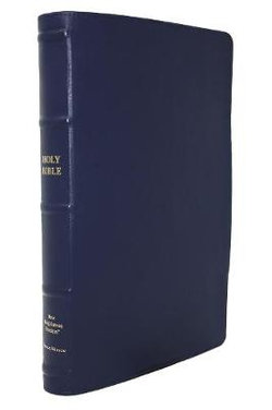NKJV, Thinline Reference Bible, Large Print, Premium Goatskin Leather, Blue, Premier Collection, Red Letter, Comfort Print