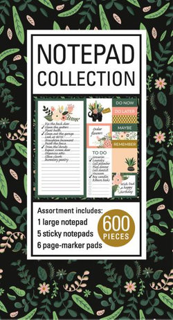 Book of Sticky Notes: Notepad Collection (Floral on Black)