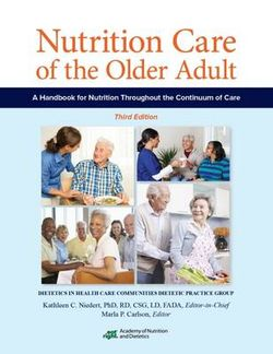 Nutrition Care for the Older Adult